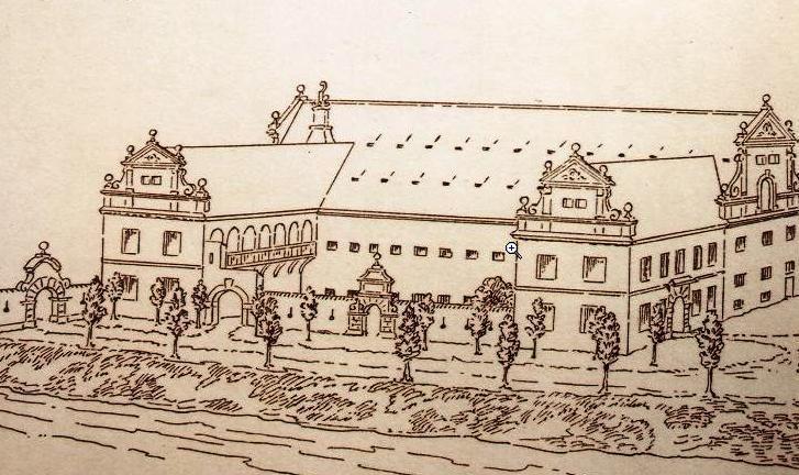 Dobová kresba barokního pivovaru
