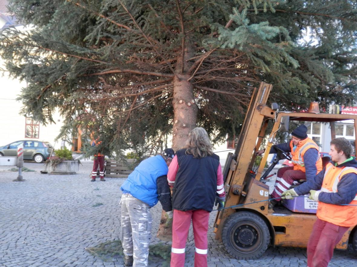 Z instalace vánočního stromu v Lounech