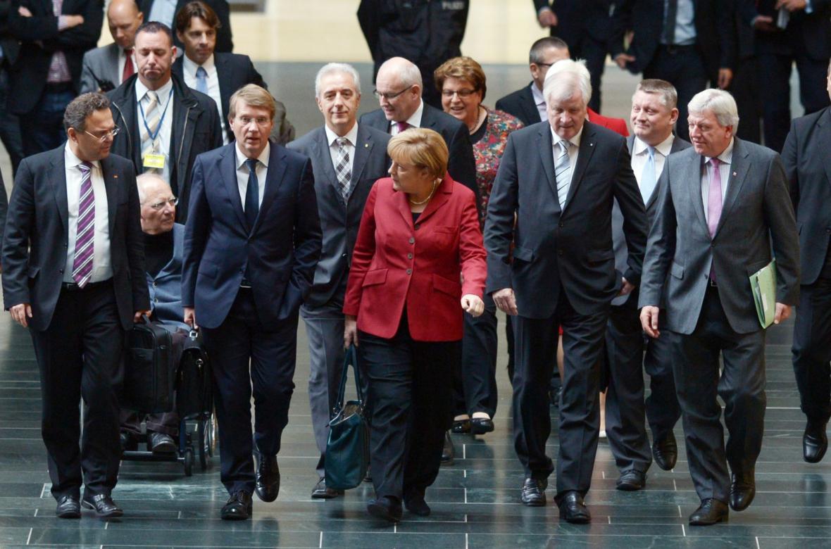 Zástupci CDU/CSU před jednáním o velké koalici