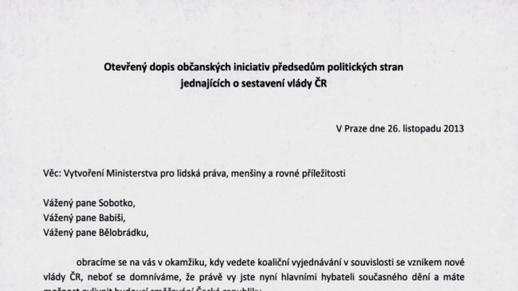 Otevřený dopis žádající zřízení ministerstva pro lidská práva