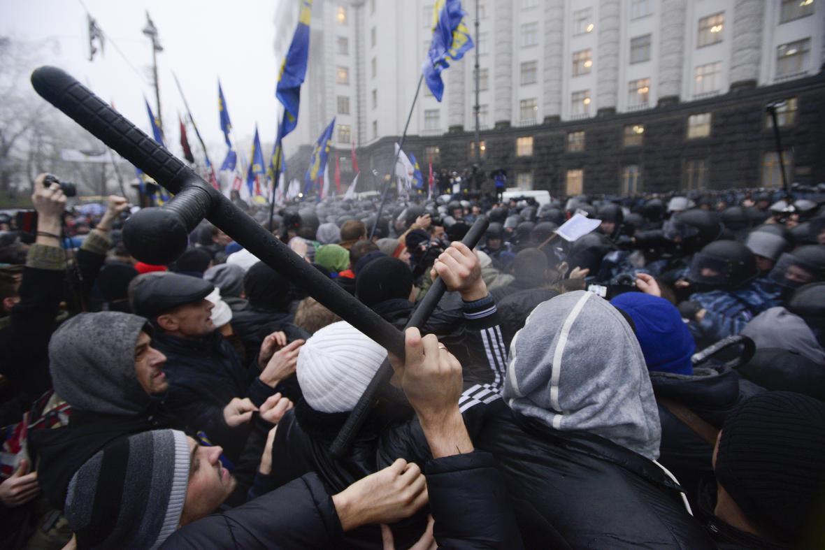 Proevropská demonstrace v Kyjevě