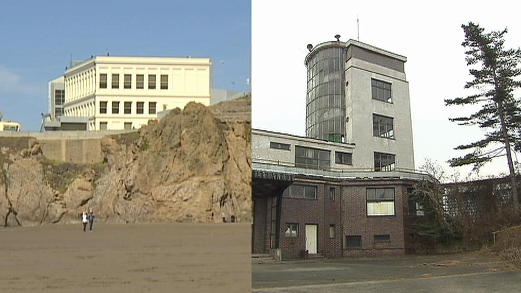 Vlevo: Cliff House, vpravo: Barrandovské terasy
