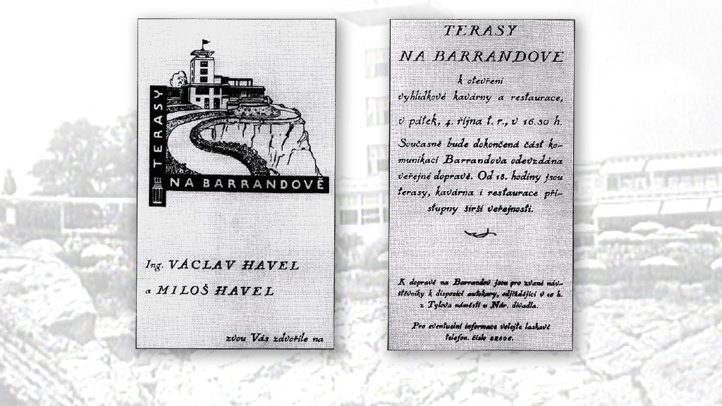 Pozvánka k otevření  Teras na Barrandově 4. října 1929