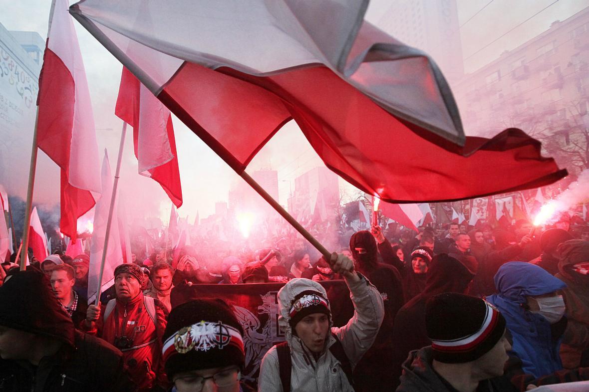 Pochod nacionalistů centrem Varšavy