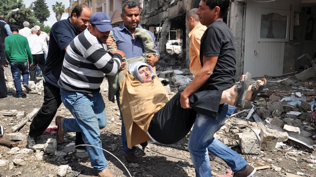 Postřelená syrská žena