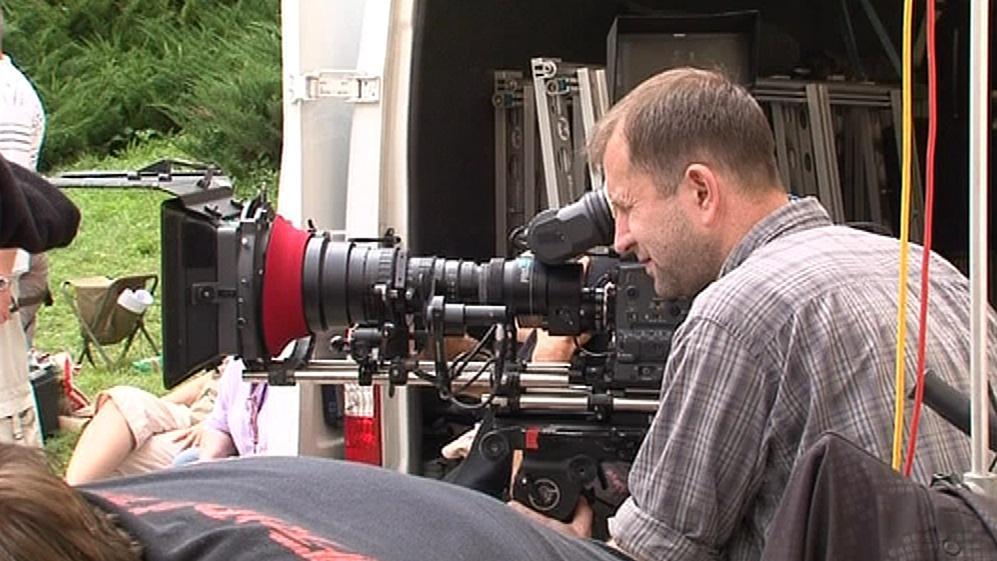 Kameraman David Ployhar na natáčení pohádky Sněžný drak