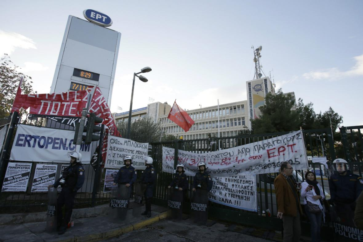 Zásah řecké policie v budově zrušené ERT