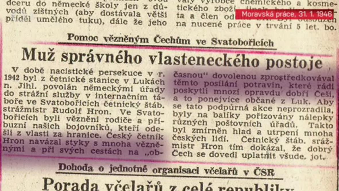 Článek o Rudolfu Hronovi v dobovém tisku