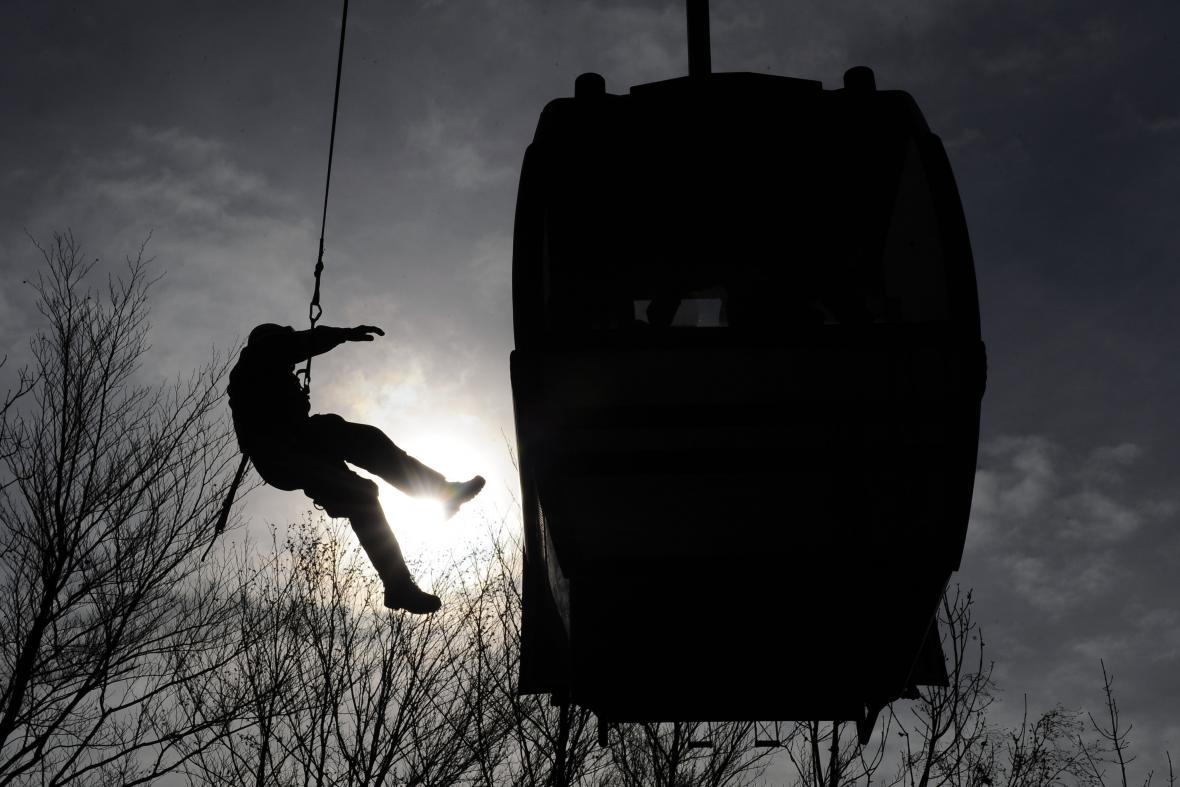 Cvičení záchranářů na Macoše