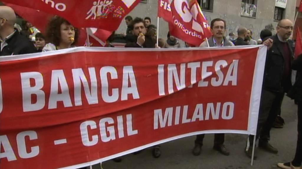 Stávka zaměstnanců italských bank