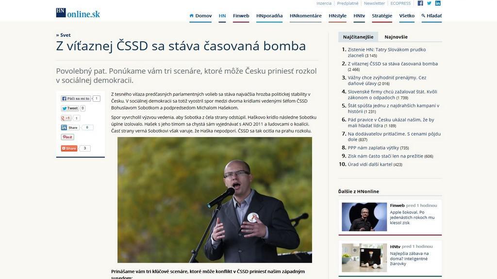 Slovenský tisk o rozkolu v ČSSD