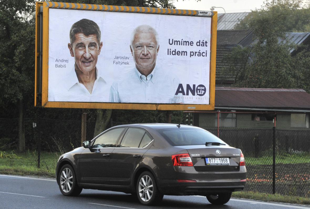 Volební billboard hnutí ANO v Ostravě