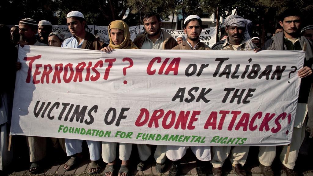 Protest proti útokům bezpilotních letounů