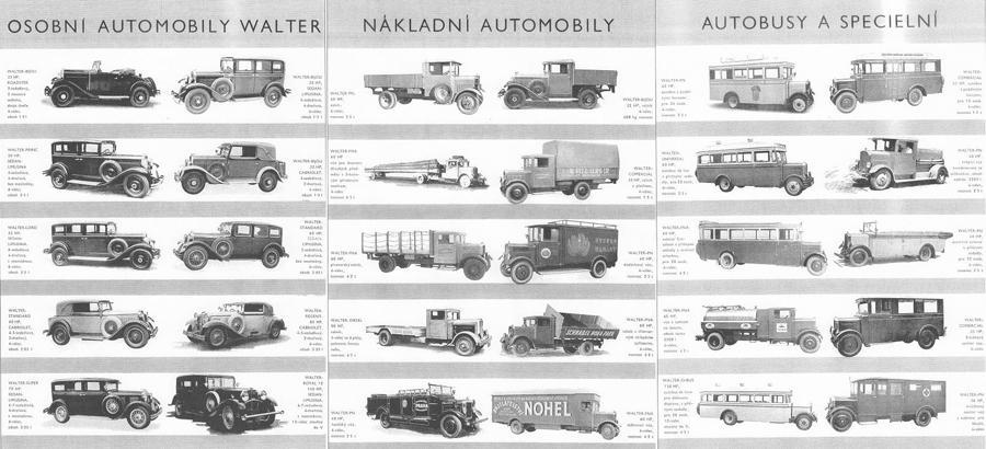 Automobily a autobusy firmy Walter