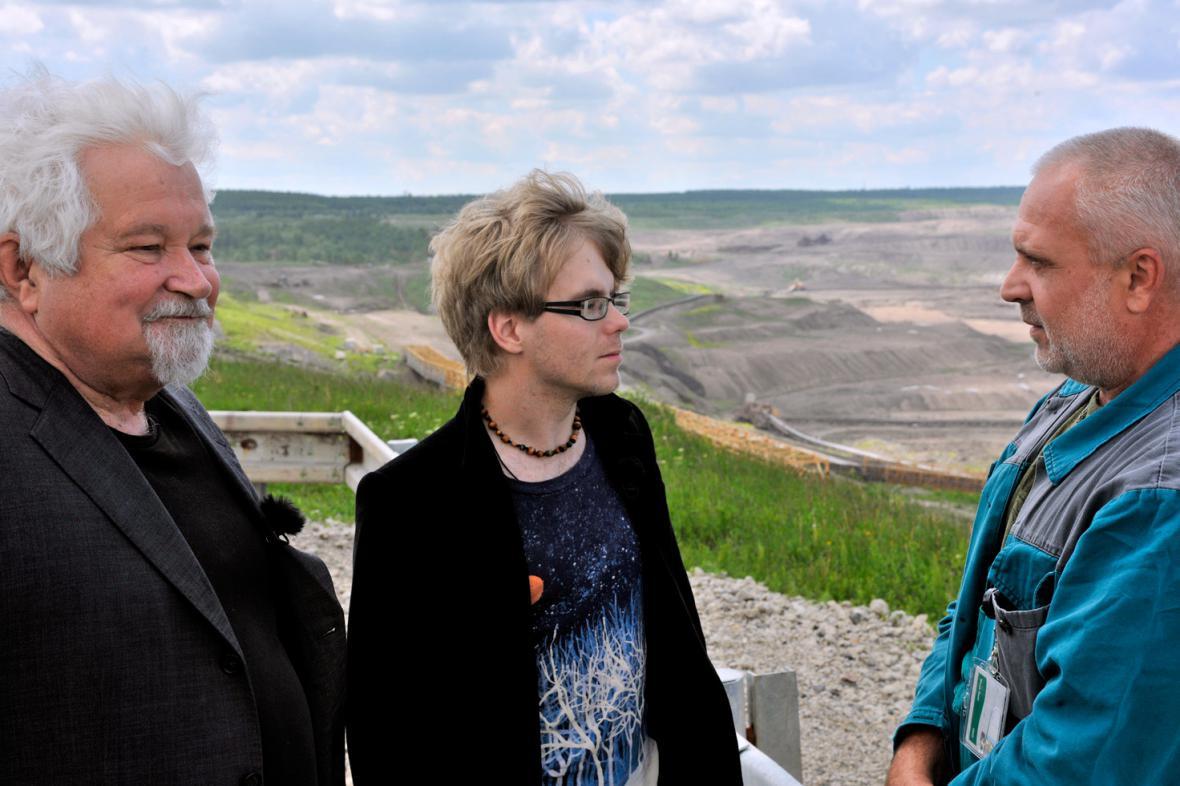 Režisér Jaroslav Kratochvíl s Petrem Pithartem