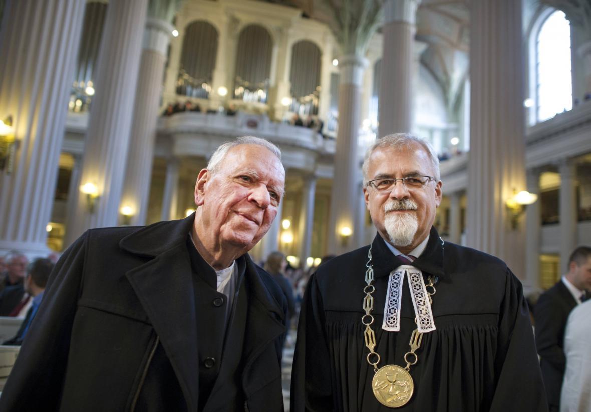 Milan Uhde a Joel Ruml na shromáždění v lipském kostele