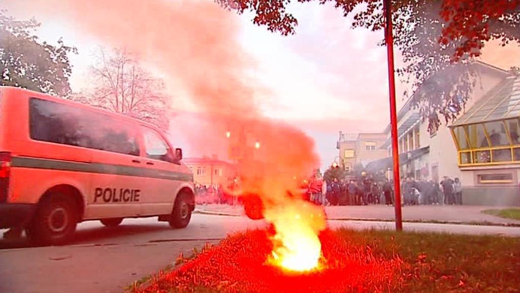 Účastníci mítinku DSSS v Ostravě se střetli s policií