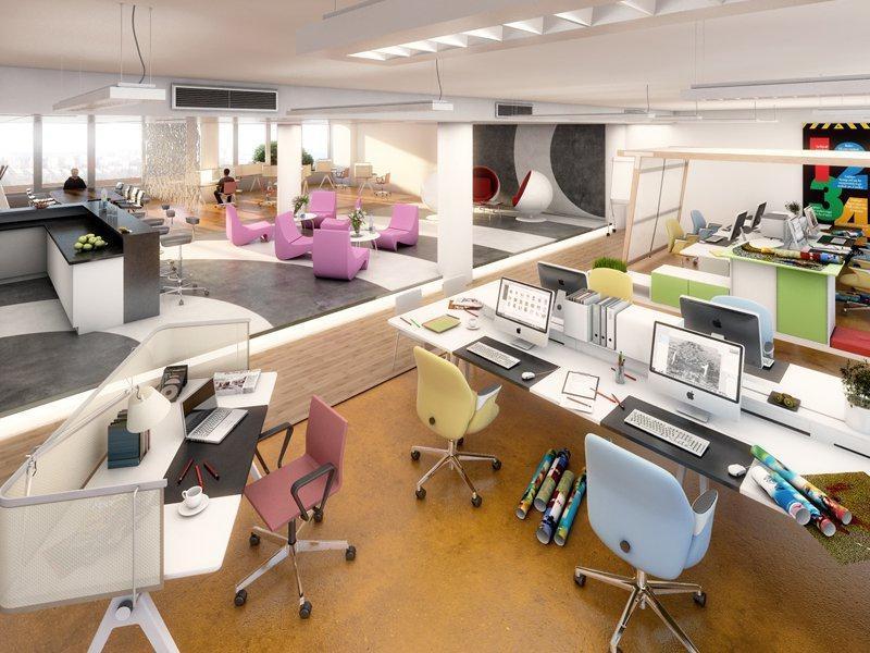 Vizualizace kanceláře ve 32. budově v baťovském areálu