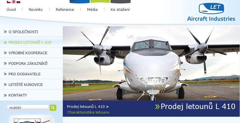 Internetové stránky Aircraft Industries