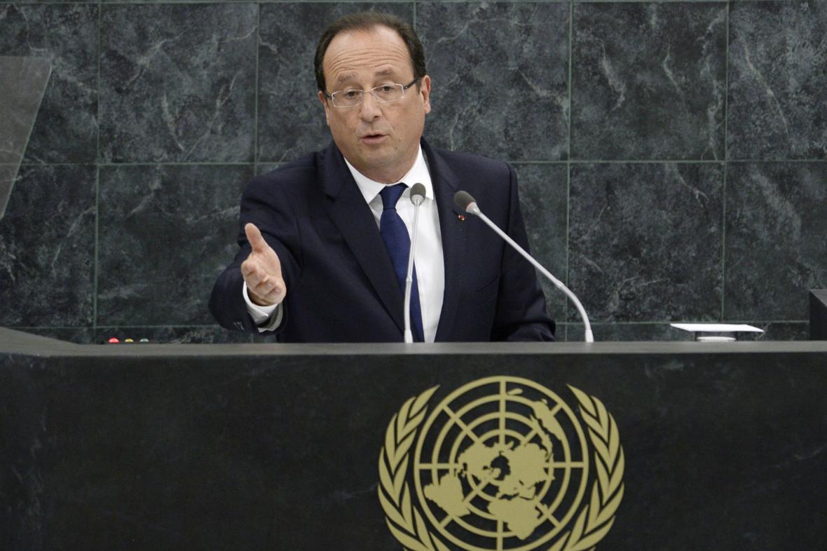 Hollande při projevu v OSN