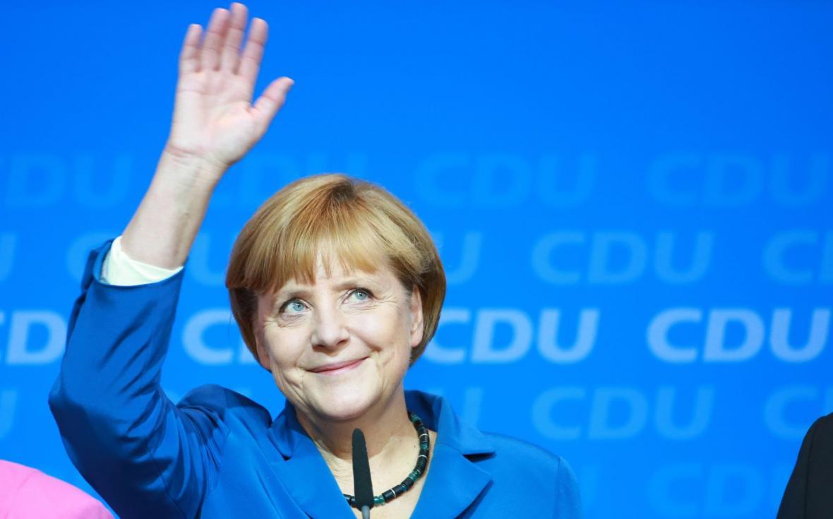 Angela Merkelová po oznámení průběžných výsledků