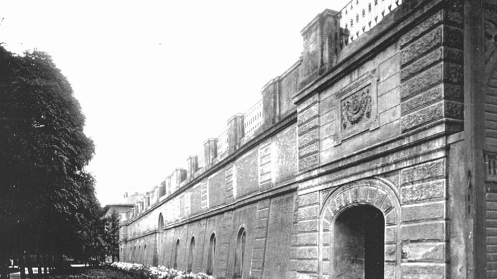 Opěrná zeď dolní Landhausky - dobová fotografie