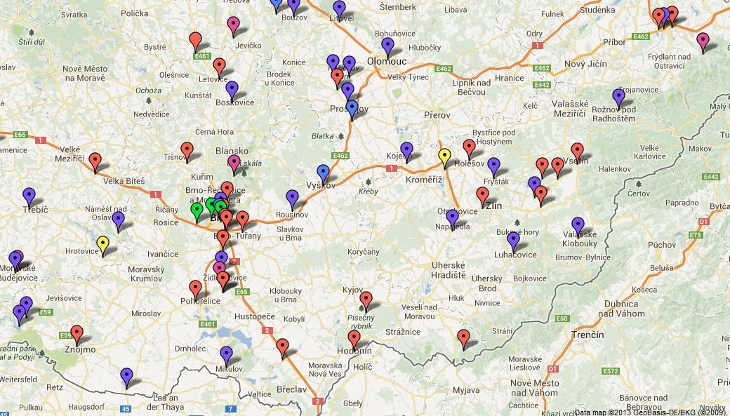 Mapa nabíjecích stanic pro elektromobily