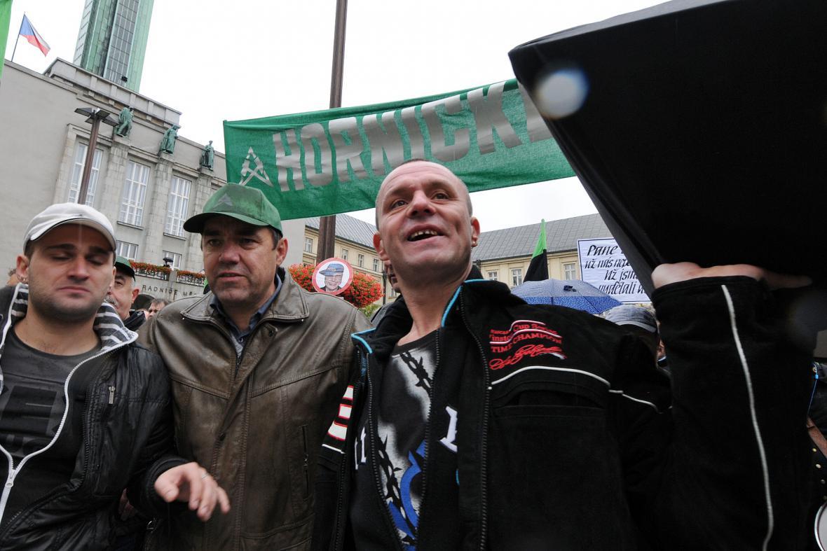 Protest horníků v Ostravě