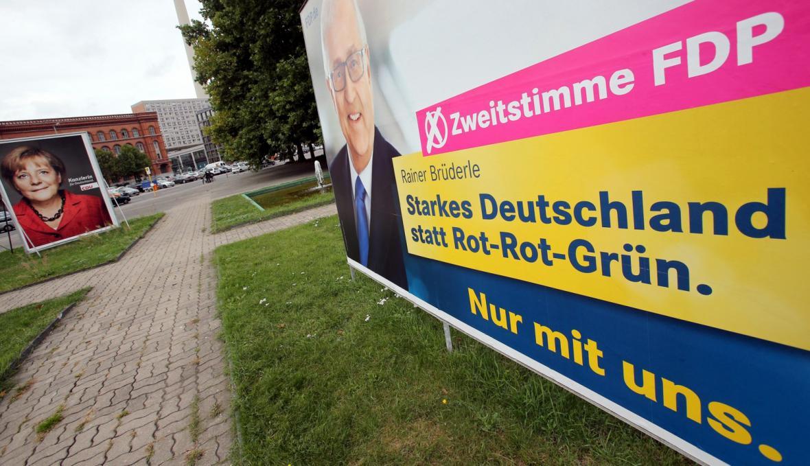 Billboardová kampaň liberálů za druhý hlas pro FDP