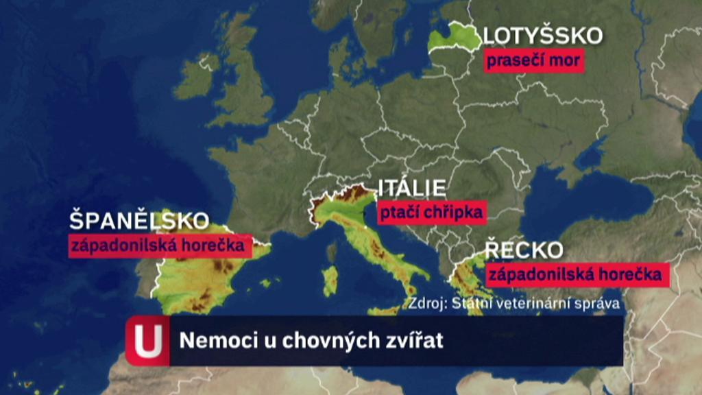 Mapa nemocí u chovných zvířat v Evropě