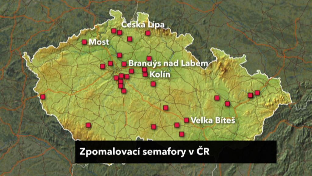 Mapa zpomalovacích semaforů v ČR