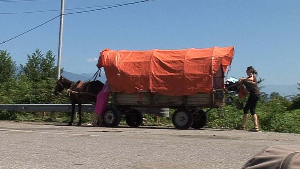 Koňský povoz - jediný dopravní prostředek, který smí přes gruzínsko-abcházské hranice