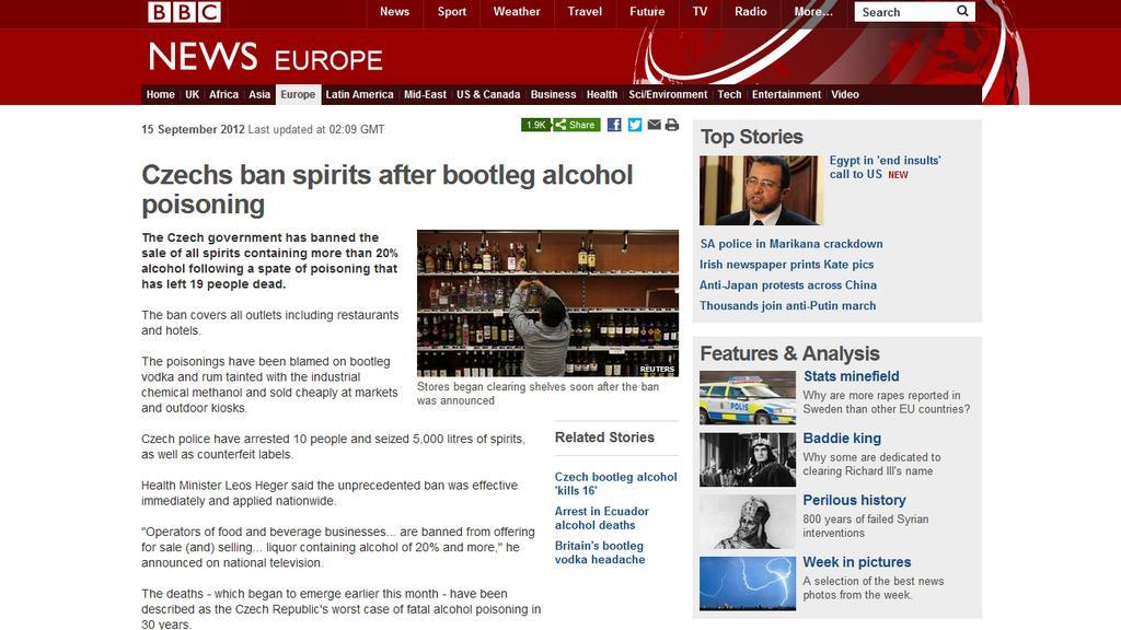 BBC informuje o prohibici v Česku