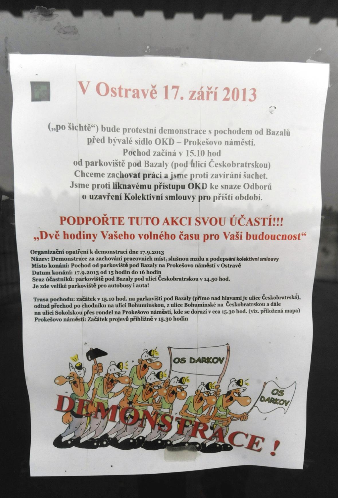 Plakát, který zve na demonstraci horníků