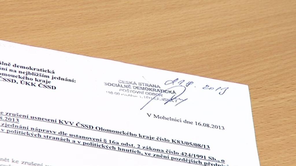 Stížnost sociálních demokratů z Mohelnicka