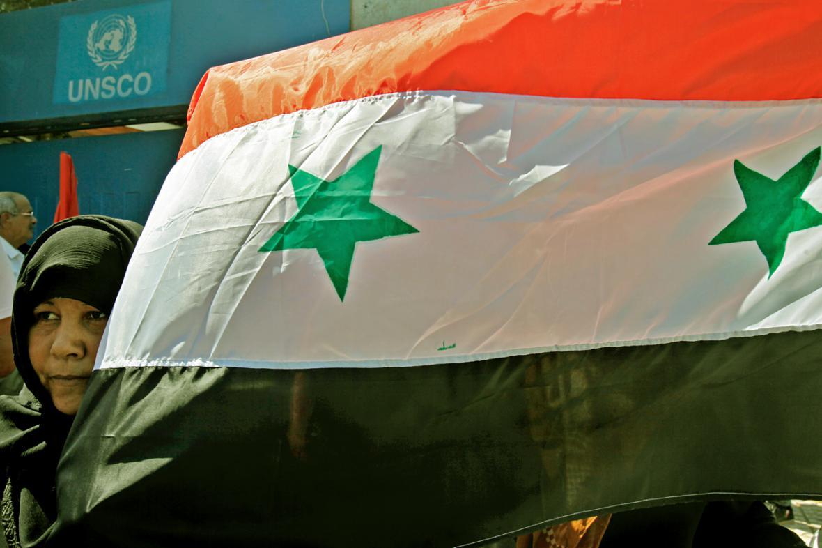 Palestinci demonstrují na podporu Sýrie