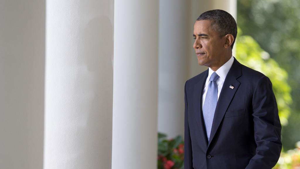 Barack Obama před prohlášením k syrské krizi