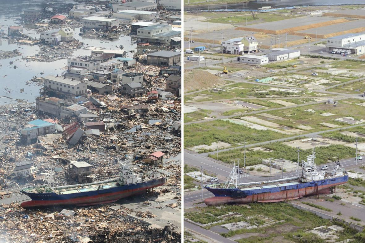 Symbol tsunami - vyplavená loď Kjótokumaru