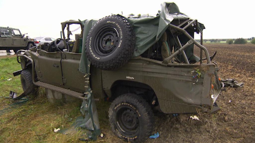 Havarované vojenské auto