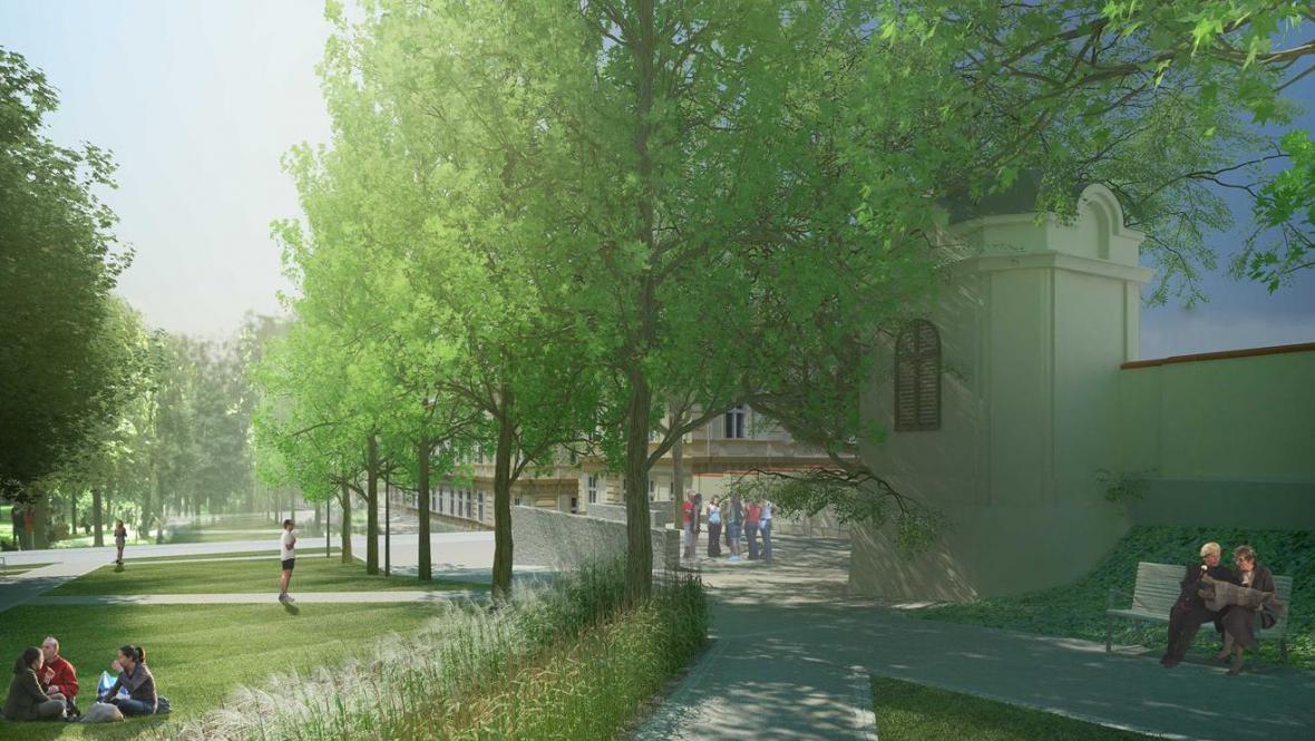 Vizualizace znojemského parku po revitalizaci