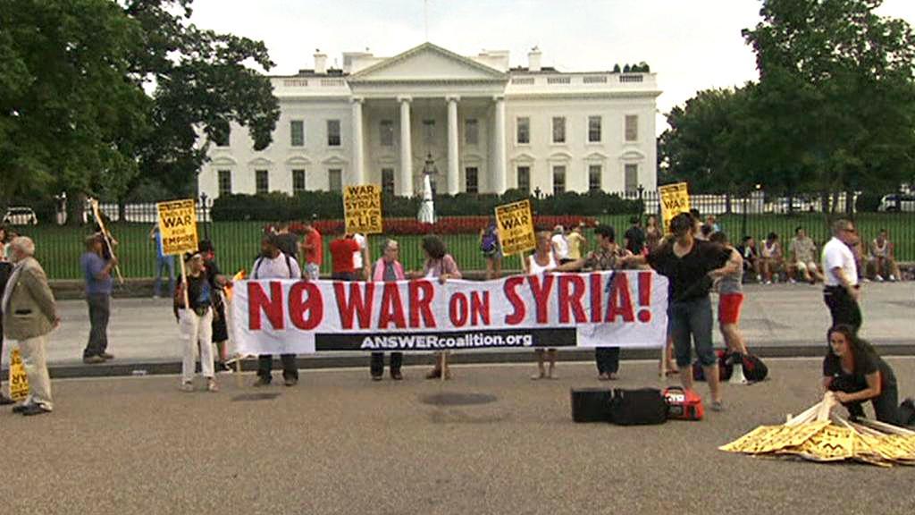 Americký protest proti vojenskému zásahu v Sýrii