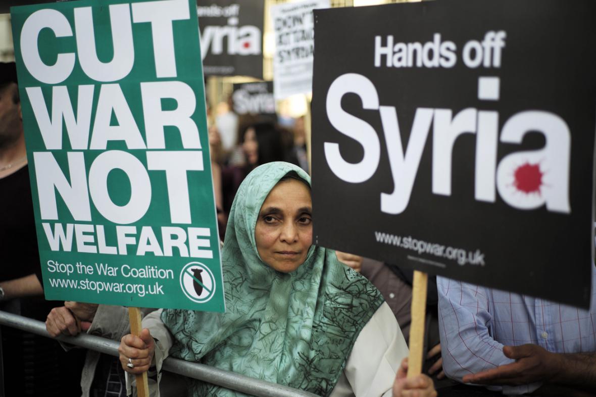Protest proti válce v Sýrii