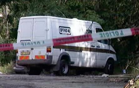 Přepadené vozidlo bezpečnostní agentury