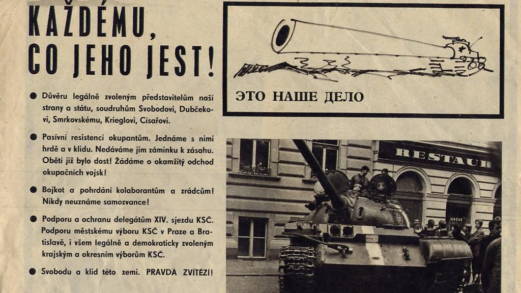 Novinové stránky ze srpna 1968