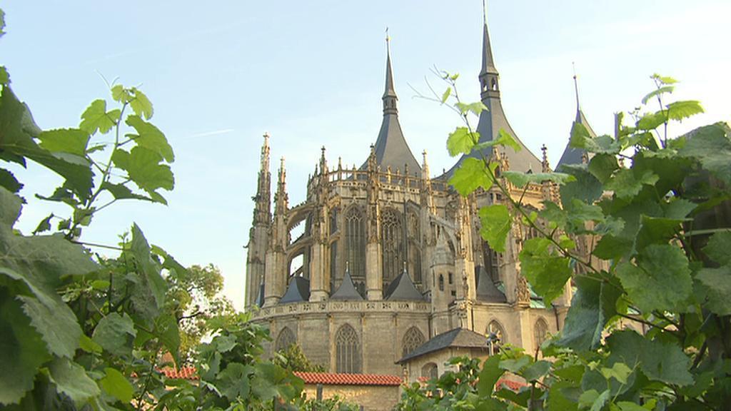 Pohled na Chrám sv. Barbory přes vinice