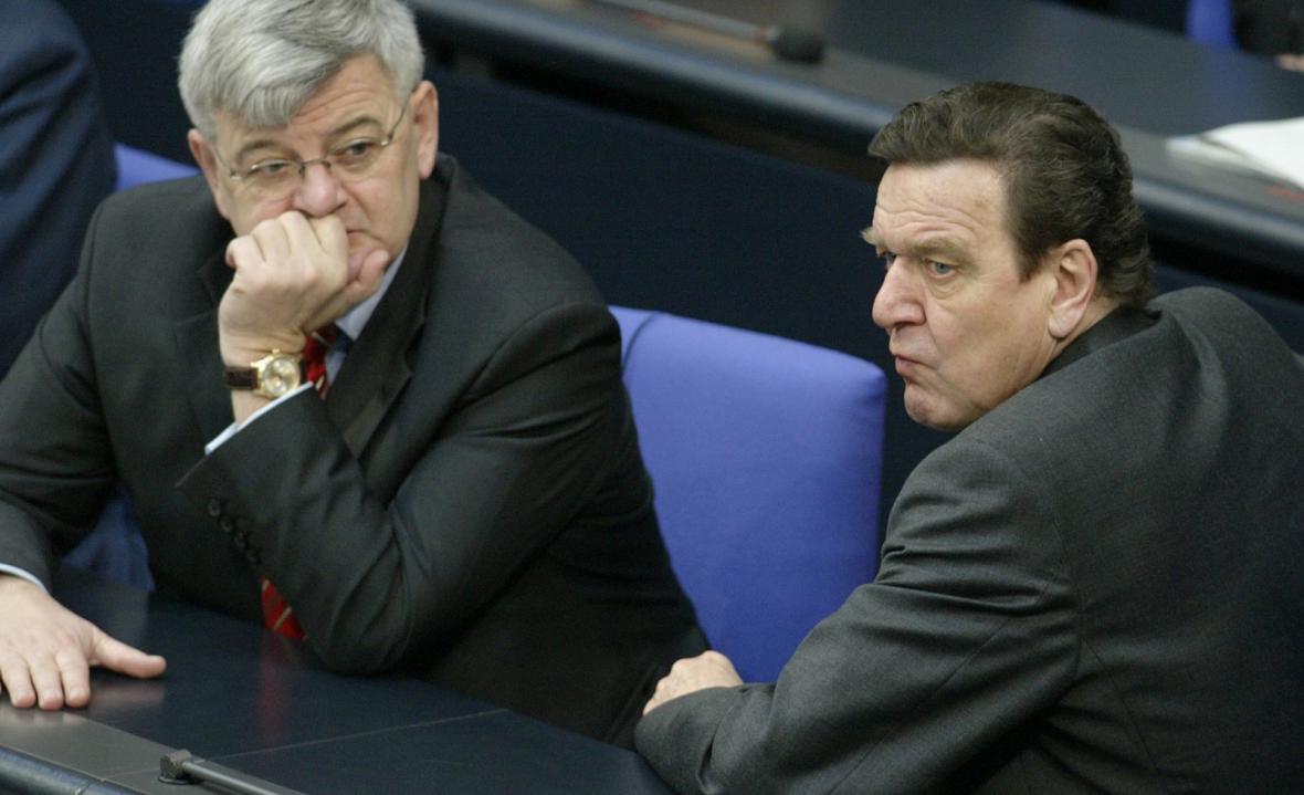 Joschka Fischer a Gerhard Schröder