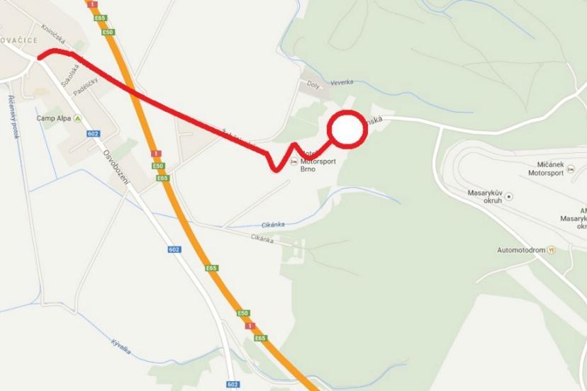 Doprava po silnici III/3842 od Ostrovačic