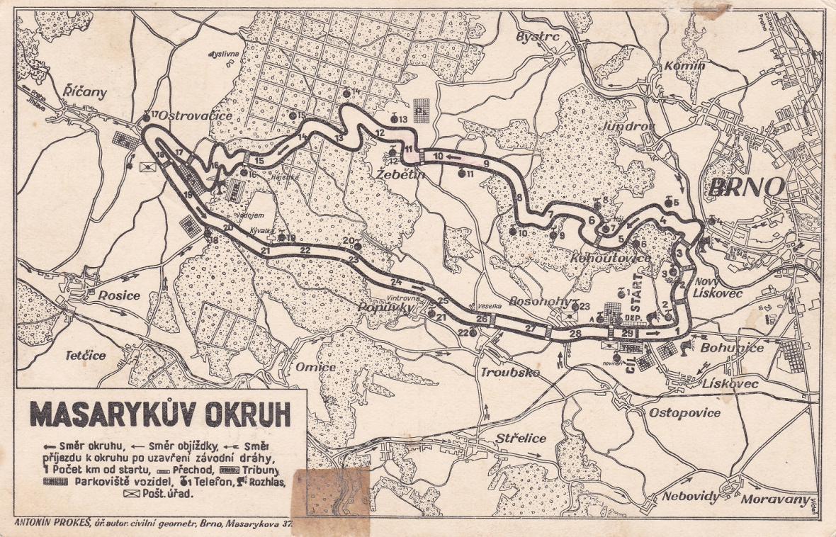 Trasa Masarykova okruhu ve 30. letech