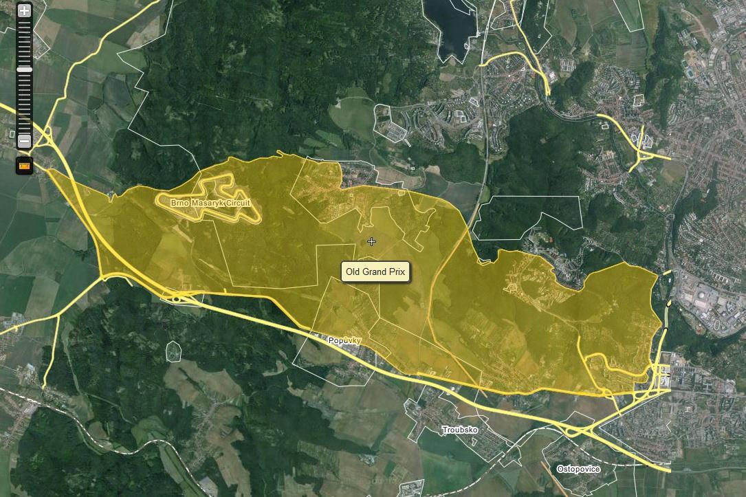 Mapa staré trasy Masarykova okruhu