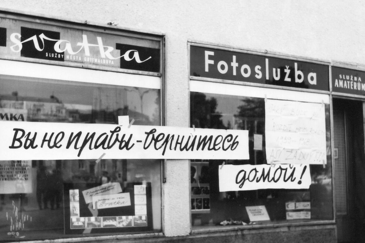 Nápisy na zlínských obchodech posílaly okupační vojska domů